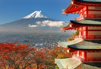 Deurstickers Japan Mt. Fuji and Pagoda
