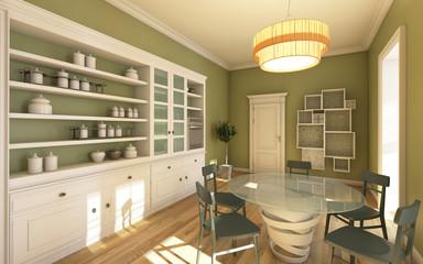 Big Bright Kitchen In Green Colour