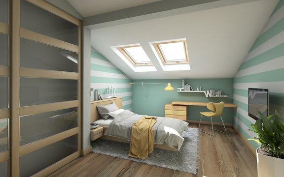 Bright Teenager's Room On Attic