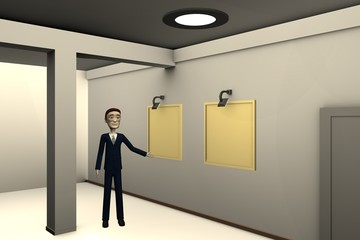 3d render of cartoon character in gallery
