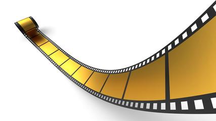 Goldene Filmrolle vor weissem Hintergrund 4