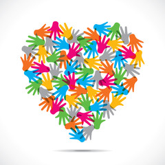 colorful hand design heart shape stock vector