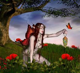 Foto op Aluminium Feeën en elfen The red fairy