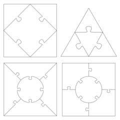 Puzzle Vorlagen Quadrat + Dreieck