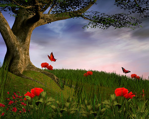 Wall Mural - Enchanted nature series - Spring hill