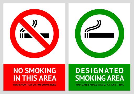No smoking and Smoking area labels - Set 13