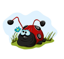 Autocollant pour porte Coccinelles Cheerful ladybug for children.