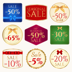 Sale banner (coupon) template with bow (ribbons)