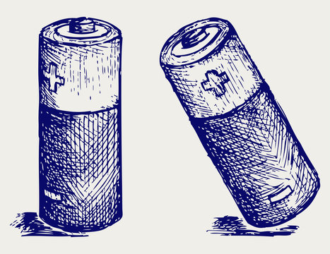 Two batteries. Doodle style. Vector EPS 8