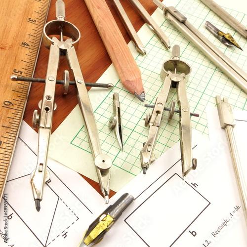 Drafting tools, ruler, formulas and engeineering paper\