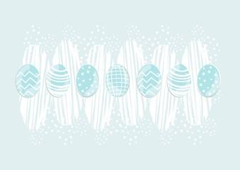niebieskie pisanki na błękitnym tle Wielkanocna ilustracja