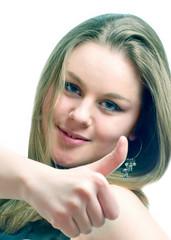 молодая девушка на белом фоне