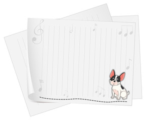 A dog printed on a white paper with musical notes