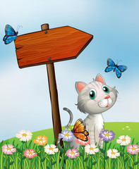 Deurstickers Katten A cat with three butterflies beside the wooden arrow board