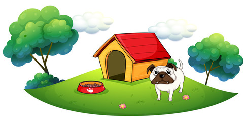 Tuinposter Honden A bulldog outside its dog house