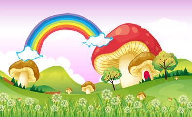 Aluminium Prints Magic world Mushrooms near the rainbow