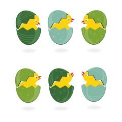 kurczaki w kolorowych pisankach Wielkanocna ilustracja