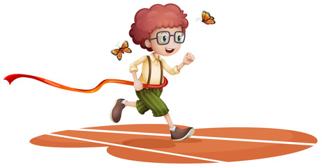 A boy running with two butterflies