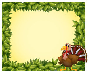 A green border with a turkey
