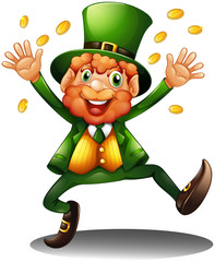 An old man throwing coins for St. Patrick's Day