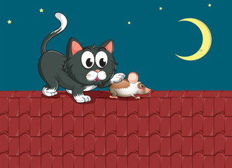 A cat and a mouse at the rooftop