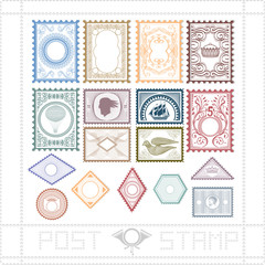 post stamp with pattern and object