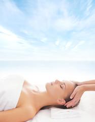 Beautiful healthy woman on a spa massage procedure