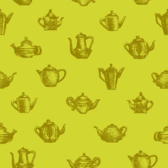 Teapots seamless background.