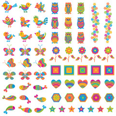 vector illustration of colorful bird,butterfly and fish