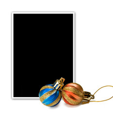 Empty photo and new year`s decorations