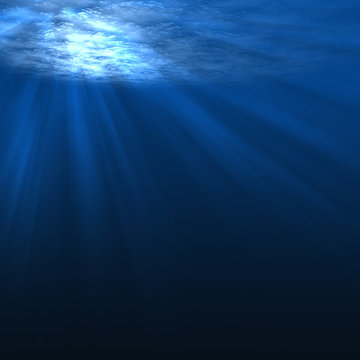Underwater scene with rays of light