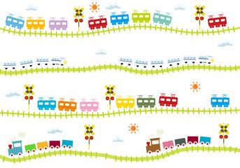 子供向け可愛い踏切のある線路を走る電車