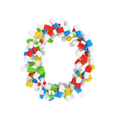 abstract letter O consisting of pills