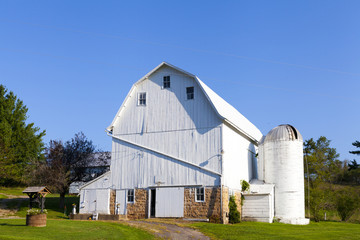 Traditional American White Farm in Summer