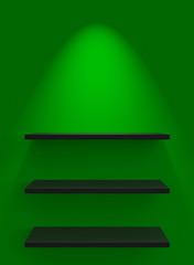 Drei Regale an Wand mit Beleuchtung - Grün Schwarz