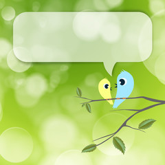 Two birds flirting and talking on branch, blank balloon with cop