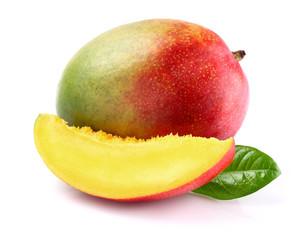 Ripe mango with slice