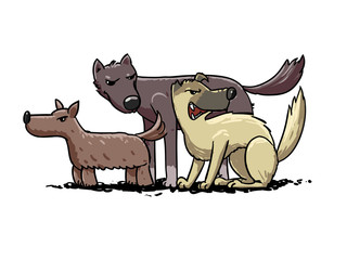 stray dogs pack. vector illustration