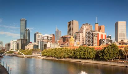 Melbourne Skyline across the Yarra River at sunrise