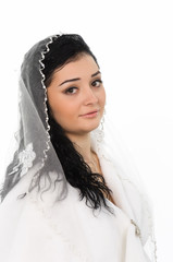 Beautiful bride with veil front view