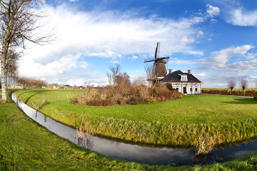 Wall Mural - Dutch windmill over blue sky