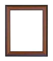 Old wooden picture frame isolated rectangular black brown color