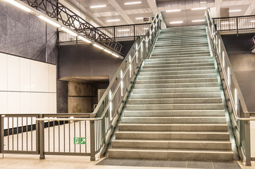 Stairs at metro railway Station - Berlin Haupbahnhof, U55