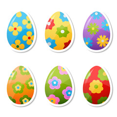 set of egg stickers with flower patterns