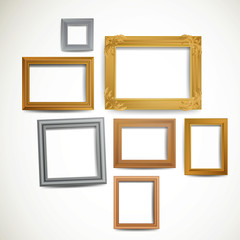Vector Illustration of Decorative Vintage Picture Frames