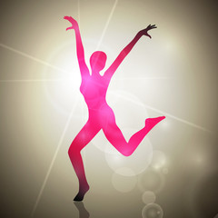 Vector Illustration of an Abstract Dancing Woman