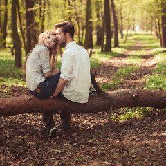 couple in love walking in the woods
