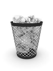 Trash bin with crumpled paper