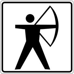 Fototapete - Schild weiß - Bogenschießen
