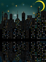 City skyline by night